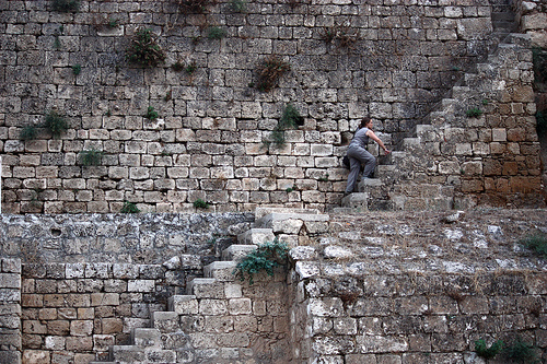 The photo above shows a climber who is climbing the city wall in Famagusta, Cyprus
